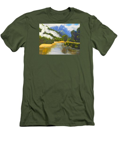 Men's T-Shirt (Slim Fit) featuring the painting Haast River New Zealand by Pamela  Meredith