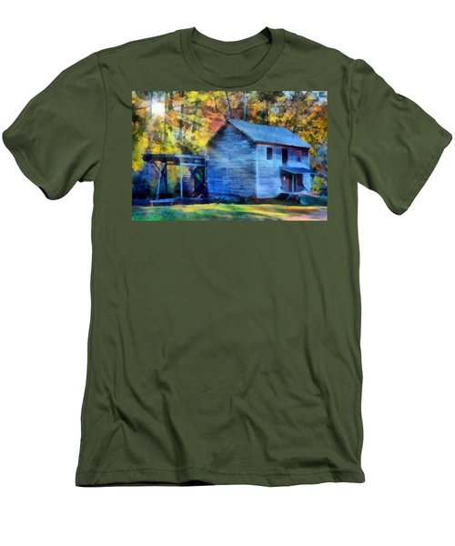 Hagood Mill With Sunrays Men's T-Shirt (Slim Fit) by Lynne Jenkins