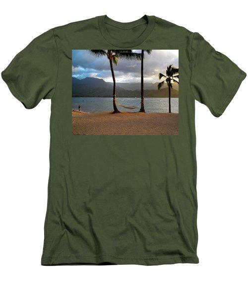 Hammock At Hanalei Bay Men's T-Shirt (Slim Fit) by James Eddy