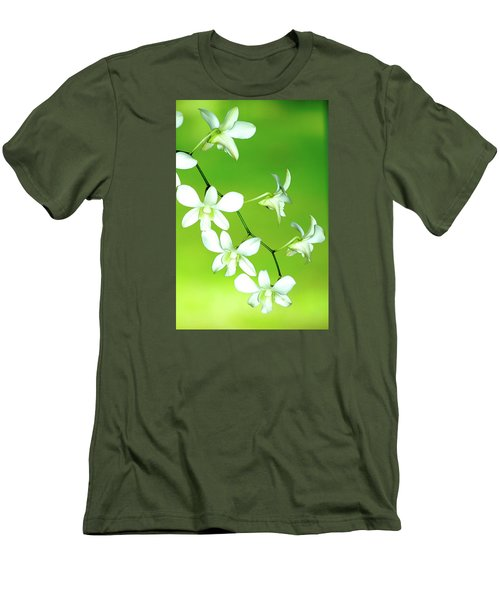 Men's T-Shirt (Slim Fit) featuring the photograph Hanging White Orchids by Lehua Pekelo-Stearns