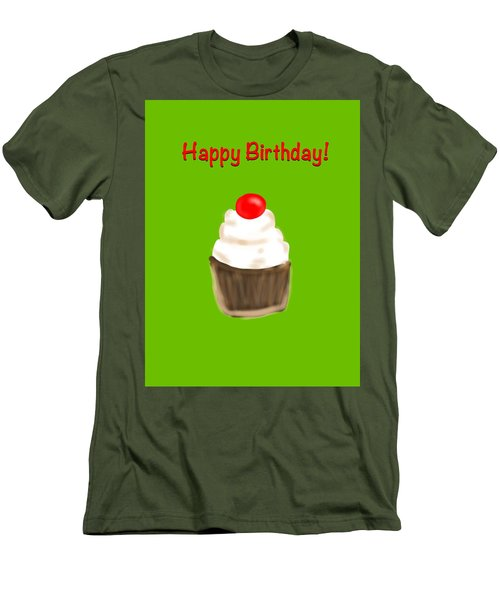 Men's T-Shirt (Slim Fit) featuring the digital art Happy Bday W A Cherry On Top by Christine Fournier