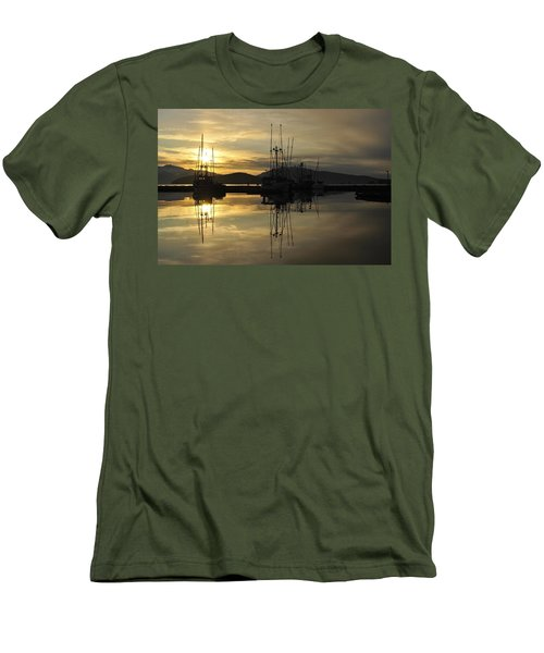 Men's T-Shirt (Slim Fit) featuring the photograph Harbor Sunset by Cathy Mahnke