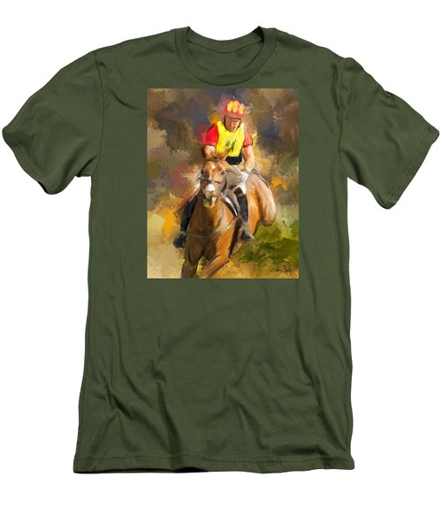 Men's T-Shirt (Slim Fit) featuring the painting Hard Left by Joan Davis