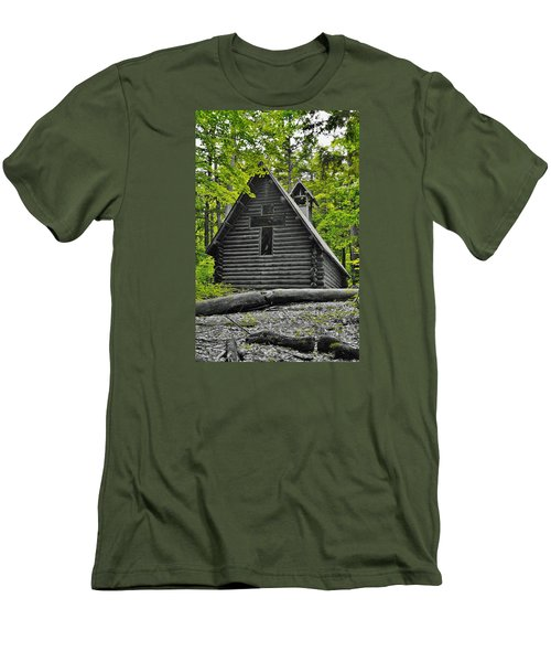Hartwick Pines Chapel Bwg Men's T-Shirt (Slim Fit) by Daniel Thompson