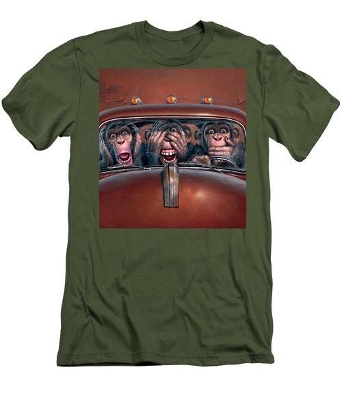 Hear No Evil See No Evil Speak No Evil Men's T-Shirt (Slim Fit) by Mark Fredrickson