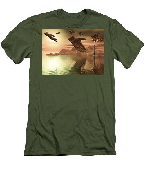 Men's T-Shirt (Slim Fit) featuring the digital art Helping Hands by John Alexander