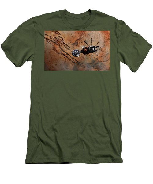 Men's T-Shirt (Slim Fit) featuring the digital art Hermes1 With The Mars Lander Ares1 In Sight by David Robinson