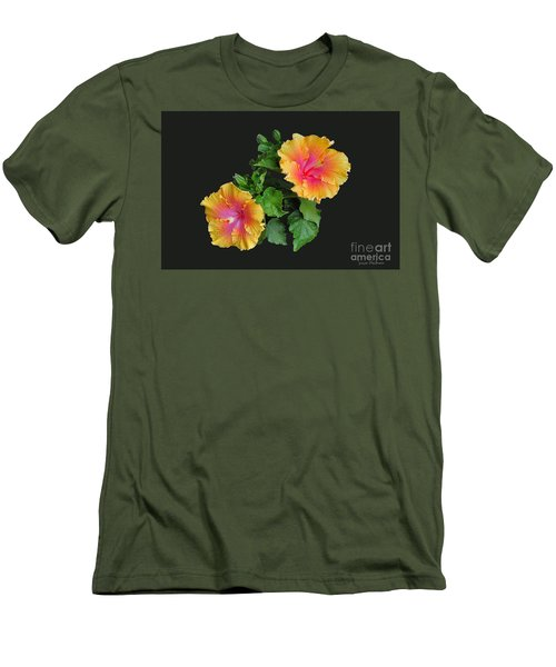 Men's T-Shirt (Slim Fit) featuring the photograph Hibiscus Duo by Susan Wiedmann