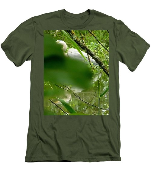 Hidden Bird White Men's T-Shirt (Slim Fit) by Susan Garren