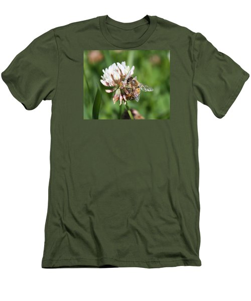 Honeybee On Clover Men's T-Shirt (Athletic Fit)
