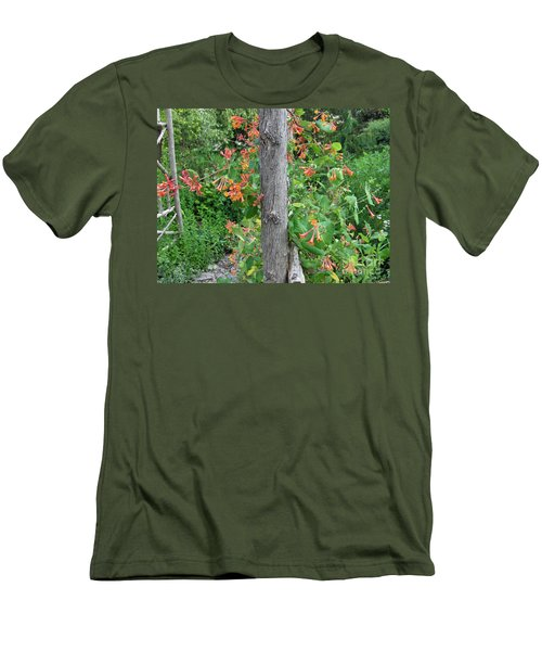 Men's T-Shirt (Slim Fit) featuring the photograph Honeysuckle's Friend by Brenda Brown