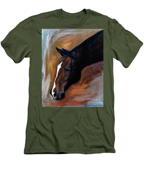 Men's T-Shirt (Slim Fit) featuring the painting horse - Apple copper by Go Van Kampen
