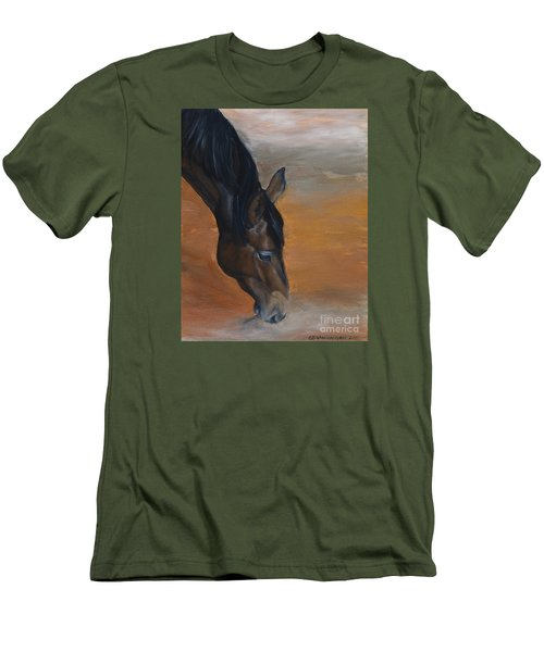 Men's T-Shirt (Slim Fit) featuring the painting horse - Lily by Go Van Kampen
