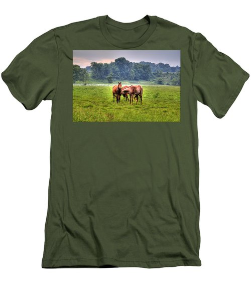 Horses Socialize Men's T-Shirt (Athletic Fit)