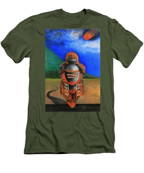 Men's T-Shirt (Slim Fit) featuring the painting Hot Moto by Tim Mullaney