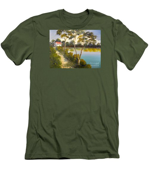 House By The Lake Men's T-Shirt (Slim Fit) by Pamela  Meredith