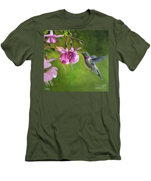 Hummingbird And Fuschia Men's T-Shirt (Slim Fit) by Debbie Hart