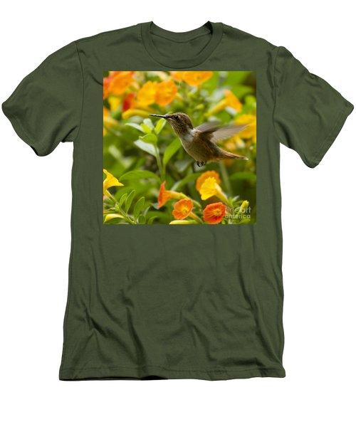 Hummingbird Looking For Food Men's T-Shirt (Slim Fit) by Heiko Koehrer-Wagner