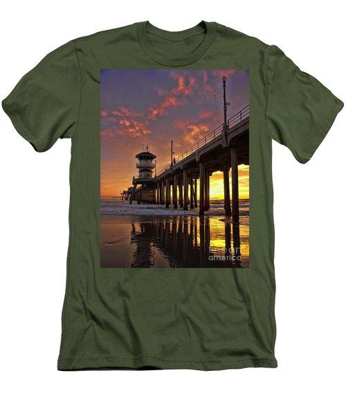 Huntington Beach Pier Men's T-Shirt (Slim Fit) by Peggy Hughes
