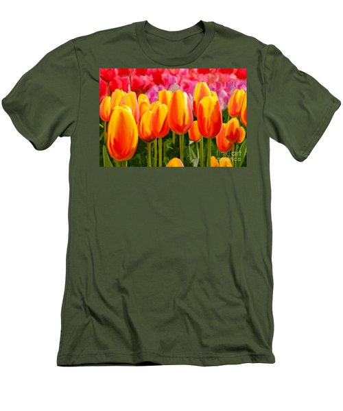 Men's T-Shirt (Slim Fit) featuring the painting Hybrid Tulips by Tim Gilliland