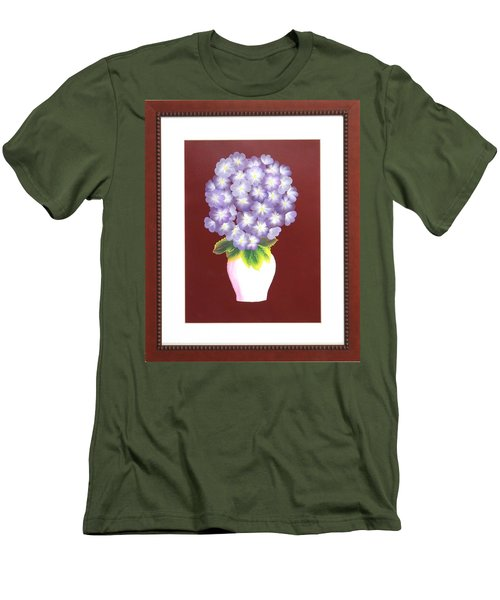 Men's T-Shirt (Slim Fit) featuring the painting Hydrangea by Ron Davidson