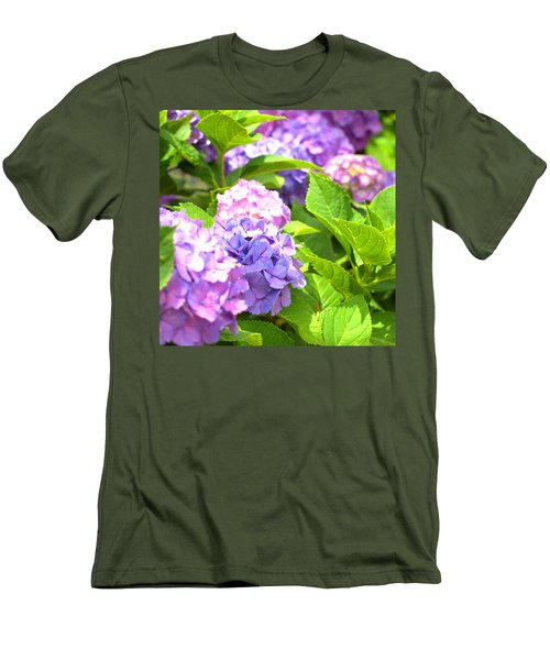 Men's T-Shirt (Slim Fit) featuring the photograph Hydrangeas In The Sun by Rachel Mirror
