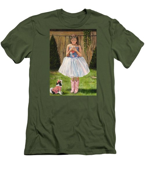 Men's T-Shirt (Slim Fit) featuring the painting I Dressed Myself by Donna Tucker