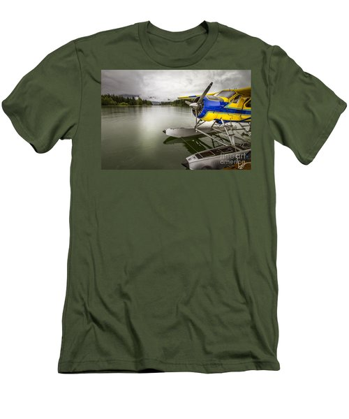 Idle Float Plane At Juneau Airport Men's T-Shirt (Slim Fit) by Darcy Michaelchuk