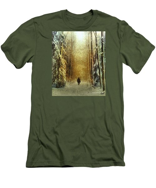 Men's T-Shirt (Slim Fit) featuring the painting I'll Be Home For Christmas by Dragica  Micki Fortuna
