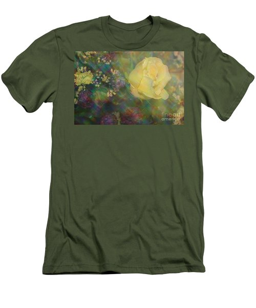 Men's T-Shirt (Slim Fit) featuring the photograph Impressionistic Yellow Rose by Dora Sofia Caputo Photographic Art and Design