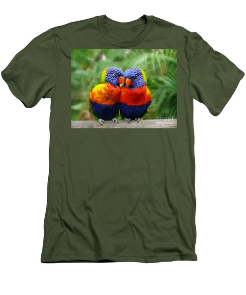 In Love Lorikeets Men's T-Shirt (Slim Fit) by Peggy Franz