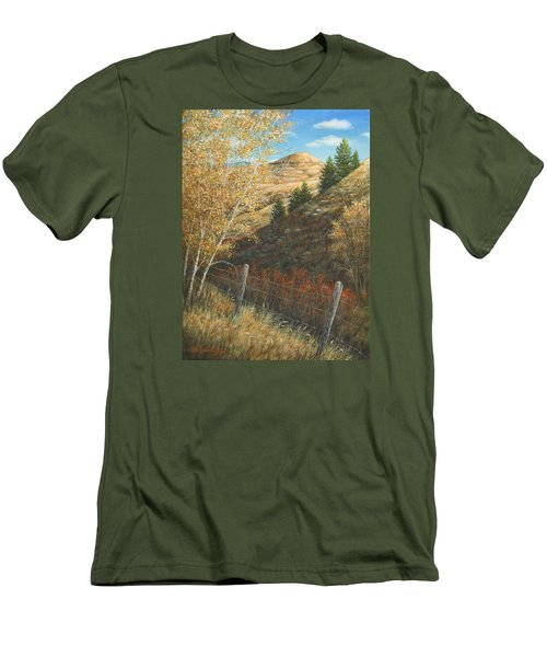 Men's T-Shirt (Slim Fit) featuring the painting In The Shadow Of Belt Butte by Kim Lockman