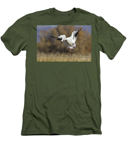 Men's T-Shirt (Slim Fit) featuring the photograph Incoming Snow Goose by Bryan Keil