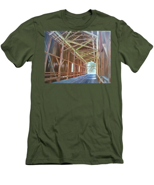 Men's T-Shirt (Slim Fit) featuring the painting Inside Felton Covered Bridge by LaVonne Hand