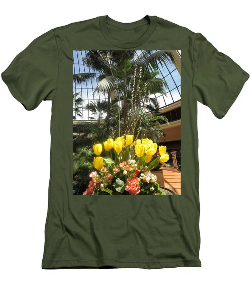 Men's T-Shirt (Slim Fit) featuring the photograph Interior Decorations Butterfly Gardens Vegas Golden Yellow Tulip Flowers by Navin Joshi