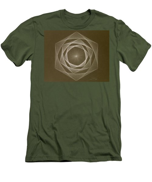 Men's T-Shirt (Slim Fit) featuring the drawing Inverted Energy Spiral by Jason Padgett