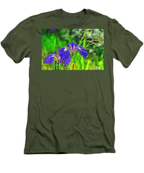 Men's T-Shirt (Slim Fit) featuring the photograph Irises by Cathy Mahnke