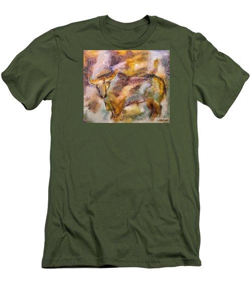 Men's T-Shirt (Slim Fit) featuring the painting Istrian Bull -  Boshkarin by Dragica  Micki Fortuna