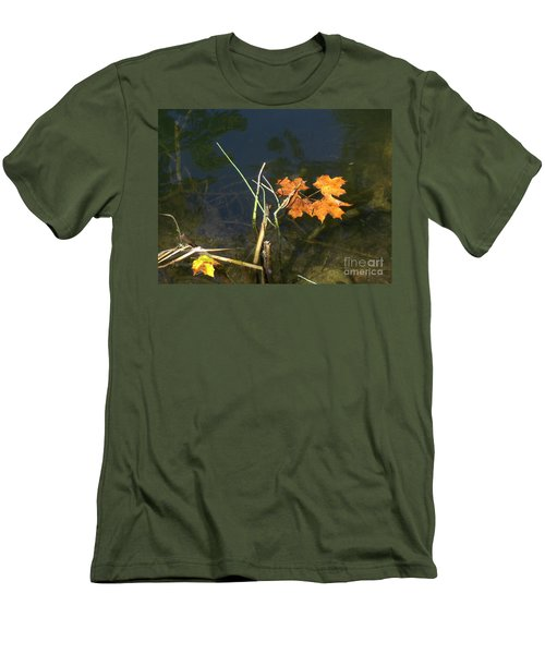 Men's T-Shirt (Slim Fit) featuring the photograph It's Over - Leafs On Pond by Brenda Brown
