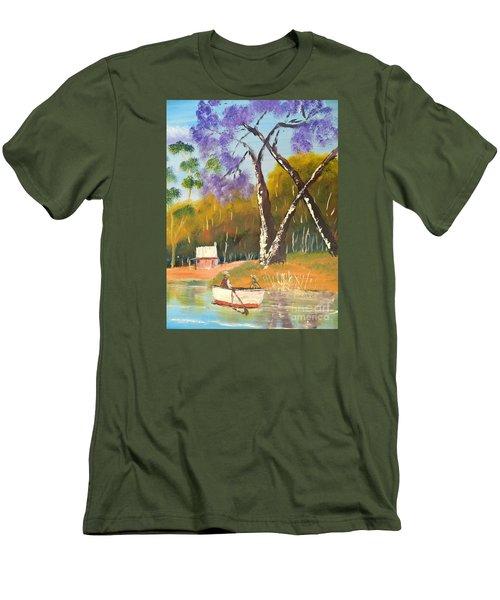 Men's T-Shirt (Slim Fit) featuring the painting Jacaranda Tree by Pamela  Meredith