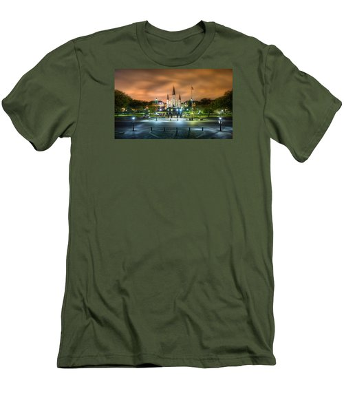 Jackson Square At Night Men's T-Shirt (Slim Fit) by Tim Stanley