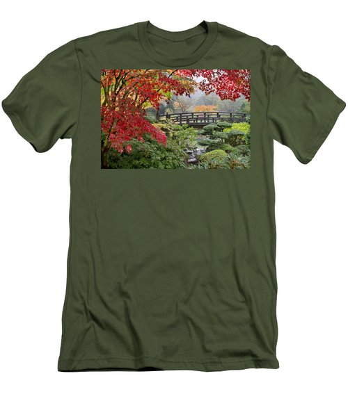 Men's T-Shirt (Slim Fit) featuring the photograph Japanese Maple Trees By The Bridge In Fall by JPLDesigns