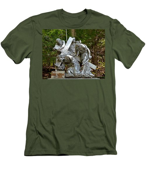 Jesus Falls The First Time Men's T-Shirt (Slim Fit) by Terry Reynoldson