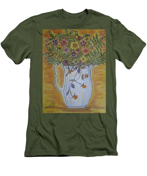 Men's T-Shirt (Slim Fit) featuring the painting Jewel Tea Pitcher With Marigolds by Kathy Marrs Chandler