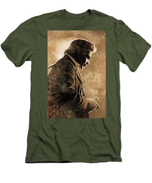 Johnny Cash Artwork Men's T-Shirt (Slim Fit) by Sheraz A