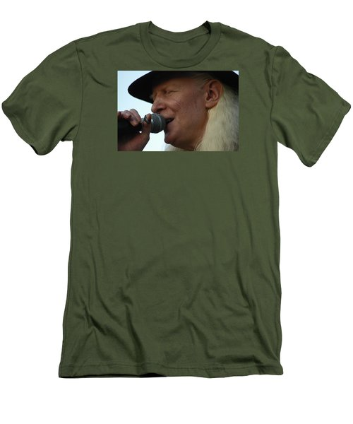 Men's T-Shirt (Slim Fit) featuring the photograph Johnny Winter Sings by Mike Martin