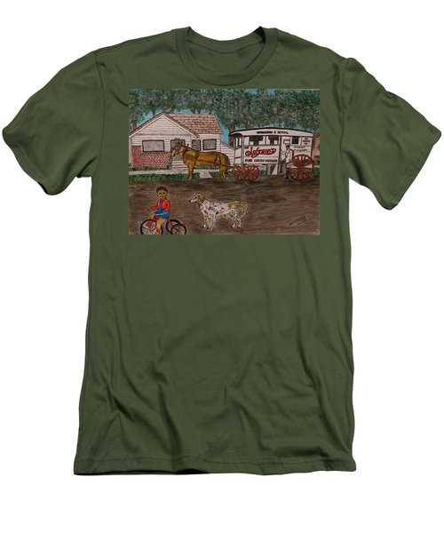 Men's T-Shirt (Slim Fit) featuring the painting Johnsons Milk Wagon Pulled By A Horse  by Kathy Marrs Chandler