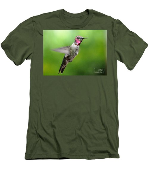 Men's T-Shirt (Slim Fit) featuring the photograph Juvenile Male Anna's In Flight by Jay Milo