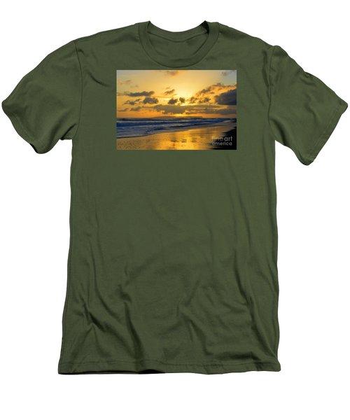 Kauai Sunset With Niihau On The Horizon Men's T-Shirt (Slim Fit) by Catherine Sherman