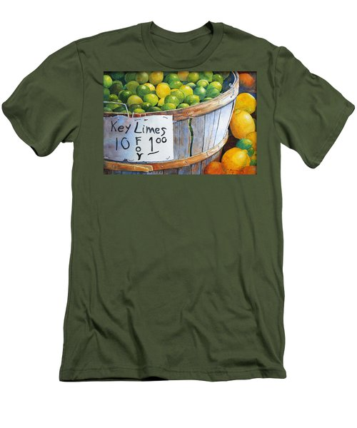 Men's T-Shirt (Slim Fit) featuring the painting Key Limes Ten For A Dollar by Roger Rockefeller